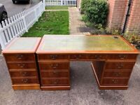 Large Chesterfield style Twin Pedestal Writing Desk & Filing Cabinet with 2 Keys