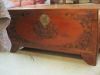 Antique Blanket Box Trunk Storage Chest with Oriental carvings