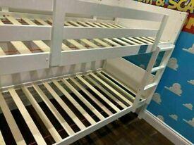 ⭐🌈MEGA SALES ON WOODEN BUNK BED SPLIT INTO 2 SINGLES WHITE HARD WOOD BUNKBED