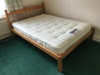 Quality pine double bed frame and mattress