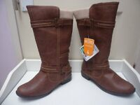 Womens Ladies Brown Low Block Heel Buckle Mid Calf Boots Size UK 4,5,6 New