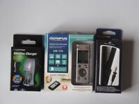 NEW Olympus DM-770 digital voice recorder + ME34 compact zoom microphone + rechargeable batteries