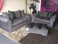 New Nala 3 Seater and 2 Seater Fabric Compact Sofas And Footstool In Charcoal Grey And Animal Print