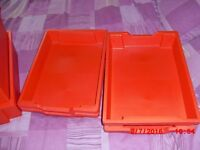 Eight Red Gratnells Storage Boxes