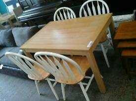 Oak effect table & 4 painted chairs