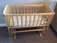 Mothercare deluxe wooden gliding crib with mattress