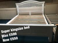 Super kingsize bed white