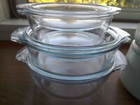 Two Sauce Pans and Three casserole dishes