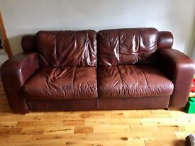 3 Seater Brown Leather Sofa & Large Arm chair