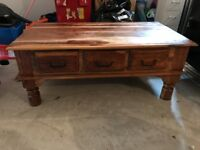 WOODEN (STAINED PINE) COFFEE TABLE