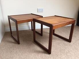 Pair of mid century teak side tables for sale in Lanchester