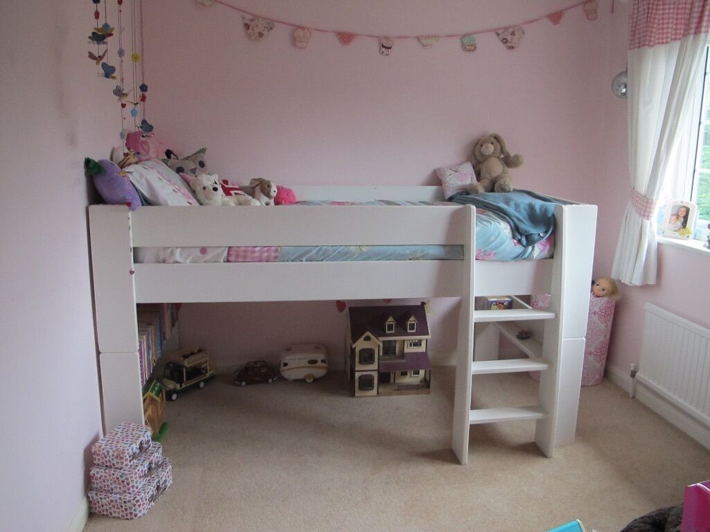 steens glossy white mid sleeper kids bed in danbury. Black Bedroom Furniture Sets. Home Design Ideas