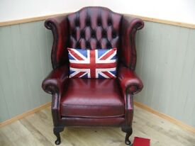 Stunning Oxblood Chesterfield Queen Anne Chair
