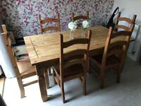 Mexican pine dining table and 6 chairs