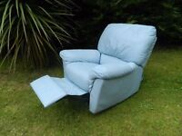 Baby-Blue 100% Real Leather Recliner / Rocker & Swivel Chair