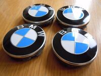 BMW Genuine ** CHOICE of BLACK or BLUE** Wheel Centre Cap Badges Fits ALL series 4 x 68mm ** New