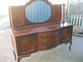 VINTAGE ORNATE BOW FRONTED, MIRROR BACKED SIDEBOARD. STUNNING. TOP DETACHABLE. VIEW/DELIVERY POSS