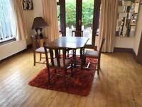 Solid Wood Drop Leaf Dining Table Carousel Legs With 4 Wooden Chairs
