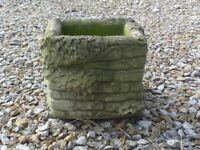 Unusual Vintage Cast Stone Brick Effect Garden Planter with Clumps of Ivy Detail