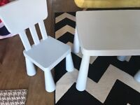 IKEA Mammut kids table and 2 chairs blue