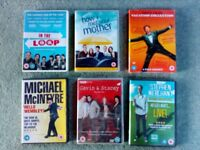 Set of six humoristic DVDs - two brand new under plastic cover