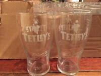 Tetleys stamped engraved pint glasses