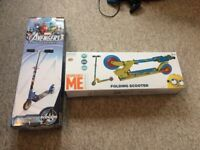 Despicable me and Marvel avengers folding scooters BRAND NEW