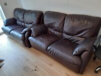 (FREE) 2 x Two Seat Brown Leather Sofa. Good condition, clean, collection only