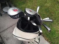Ladies Golf Clubs 5-9 Iron, Sand Wedge, Pitcher, Putter & 7 Wood in Ivory Bag, Trolley also included
