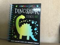 New scratch & sparkle dinosaur stencil art book