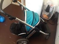 Oyster double pram with carry cot