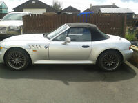 For sale, 1999 BMW Z3, wide, lightweight body, 4 nearly new tyres, electric softtop.