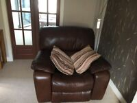 Brown leather electric reclining 3 seater settee and chair