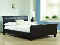 BARGAIN!! DOUBLE LEATHER BED & FREE MATTRESS
