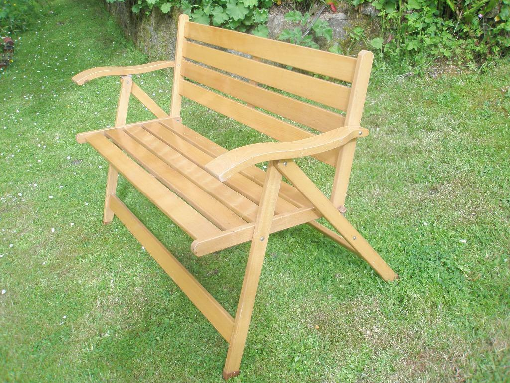 quality sabe solid wood 2 seater folding garden bench in