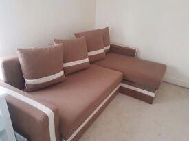 Corner sofa bed brown cream
