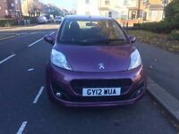 PEUGEOT 107 ACTIVE S-A PURPLE CLEAN BEAUTIFUL CAR LONG MOT SERVICE HISTORY
