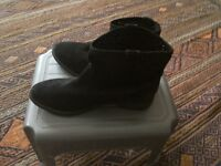 Womens black suede ankle boots size 7