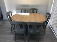 Solid wooden table and six chairs