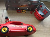 Playmobil Sports / Racing Car with Tuning Studio Workshop VGC