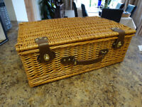 Classic traditional wicker picnic basket hamper for sale