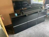 Black living room tv unit
