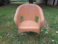 LOVELY PETITE WICKER AND IRON FRAME STURDY CONSERVATORY CHAIR