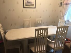 Cream dining table and 6 chairs