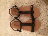 Size 5 Black T-Bar Sandals