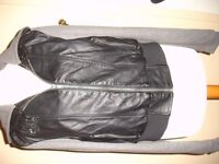 Leather look zip up hooded jacket size 14