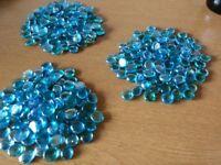 300 blue/turquoise decorative glass pebbles