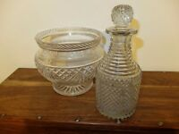 Ornamental glass decanter and fruit bowl - vintage chic