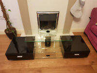 Low Profile TV Stand - Glass with 2 x Piano Black Gloss Draw Units
