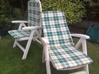 Pair of Sun loungers complete with Mattresses Reclining Garden Chairs